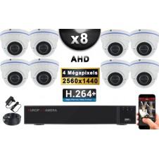 KIT PRO AHD 8 Caméras Dômes IR 35m 4 MegaPixels + Enregistreur XVR 5MP H264+ 3000 Go / Pack de vidéo surveillance