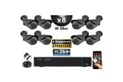 KIT PRO AHD 8 Caméras Tubes IR 40m 4 MegaPixels + Enregistreur DVR AHD 4 MegaPixels 3000 Go / Pack de vidéo surveillance