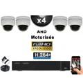 KIT PRO AHD 4 Caméras Dômes Motorisée PTZ IR 20m FULL HD 1080P + Enregistreur XVR 5MP H264+ 2000 Go / Vidéo surveillance