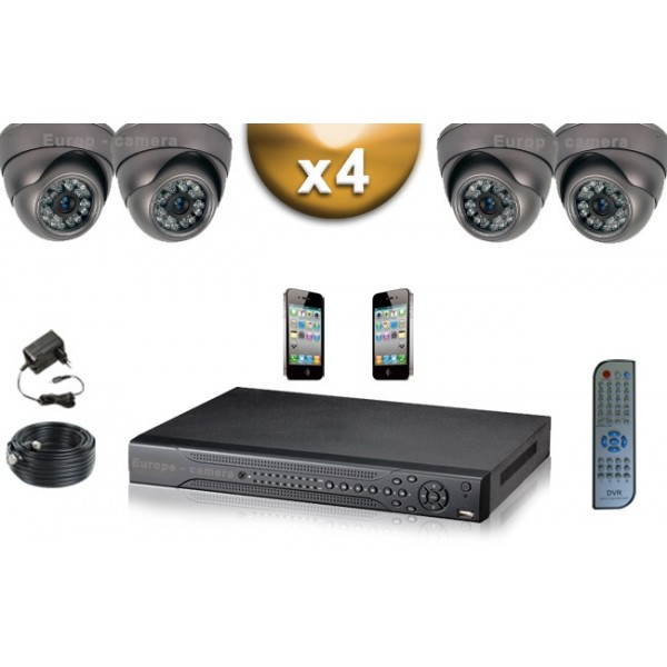 pack video surveillance professionnel full 960h d1 4 cameras domes compatible iphone. Black Bedroom Furniture Sets. Home Design Ideas