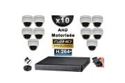 KIT PRO AHD 10 Caméras Dômes Motorisée PTZ IR 20m FULL HD 1080P + Enregistreur DVR AHD FULL HD 3000 Go / Vidéo surveillance