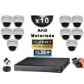 KIT PRO AHD 10 Caméras Dômes Motorisée PTZ IR 20m FULL HD 1080P + Enregistreur XVR 5MP H264+ 3000 Go / Vidéo surveillance