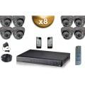 KIT PRO 8x Caméras Dômes 700 TVL + Enregistreur DVR 2000 Go FULL D1 / Pack de vidéo surveillance professionnel