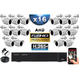 KIT PRO AHD 16 Caméras Tubes IR 30m Capteur SONY FULL HD 1080P + Enregistreur XVR 5MP H265+ 3000 Go / Pack vidéo surveillance