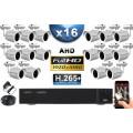 KIT PRO AHD 16 Caméras Tubes IR 30m Capteur SONY FULL HD 1080P + Enregistreur XVR 5MP H264+ 3000 Go / Pack vidéo surveillance