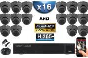 KIT PRO AHD 16 Caméras Dômes IR 20m SONY FULL HD 1080P + Enregistreur DVR AHD FULL HD 3000 Go / Pack de vidéo surveillance