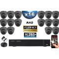 KIT PRO AHD 16 Caméras Dômes IR 20m Capteur SONY FULL HD 1080P + Enregistreur XVR 5MP H264+ 3000 Go / Pack vidéo surveillance