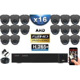 KIT PRO AHD 16 Caméras Dômes IR 35m Capteur SONY FULL HD 1080P + Enregistreur XVR 5MP H265+ 3000 Go / Pack vidéo surveillance