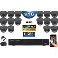 KIT PRO AHD 16 Caméras Dômes IR 35m SONY FULL HD 1080P + Enregistreur DVR AHD FULL HD 3000 Go / Pack de vidéo surveillance