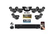 KIT PRO AHD 6 Caméras Tubes IR 60m 4 MegaPixels + Enregistreur XVR 5MP H264+ 2000 Go / Pack de vidéo surveillance