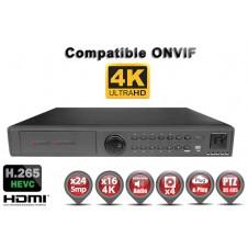Enregistreur numérique NVR réseau 24 / 32 canaux H265 IP ONVIF UHD 4K 5MP 3MP 1080P FULL HD / Ref : EC-NVR5MP24