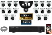 Kit Vidéo Surveillance PRO IP : 16x Caméras Dômes IR 20M SONY 1080P Compatible IPHONE + Enregistreur NVR H264 FULL HD 3000 Go