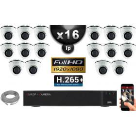 Kit Vidéo Surveillance PRO IP : 16x Caméras Dômes IR 20M Capteur SONY 1080P + Enregistreur NVR 25 canaux H265+ 3000 Go