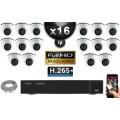 Kit Vidéo Surveillance PRO IP : 16x Caméras Dômes IR 20M Capteur SONY 1080P + Enregistreur NVR 36 canaux H265+ 3000 Go