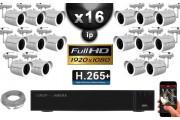 Kit Vidéo Surveillance PRO IP : 16x Caméras Tubes IR 30M Capteur SONY 1080P + Enregistreur NVR 36 canaux H265+ 3000 Go
