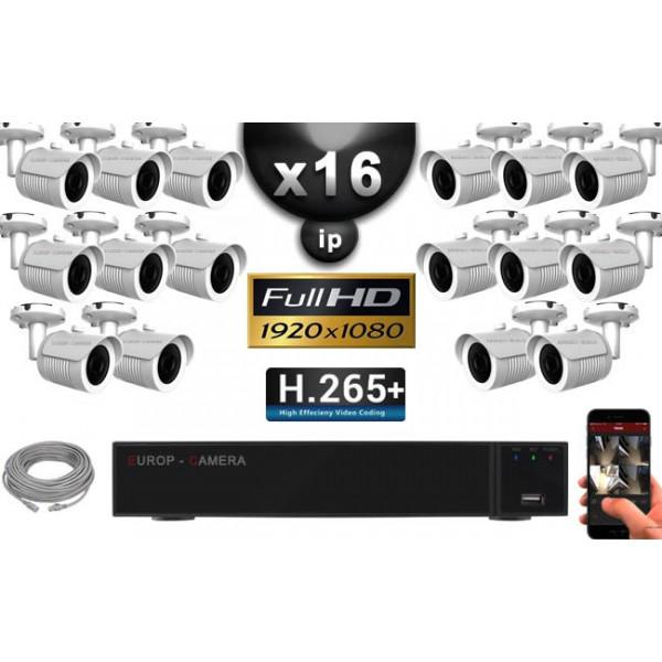 Kit Vidéo Surveillance PRO IP : 16x Caméras Tubes IR 30M Capteur SONY 1080P + Enregistreur NVR 25 canaux H265+ 3000 Go