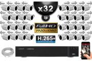 Kit Vidéo Surveillance PRO IP : 32x Caméras Tubes IR 20M SONY 1080P Compatible IPHONE + Enregistreur NVR H264 FULL HD 3000 Go
