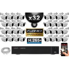 Kit Vidéo Surveillance PRO IP : 32x Caméras Tubes IR 30M Capteur SONY 1080P + Enregistreur NVR 36 canaux H265+ 3000 Go