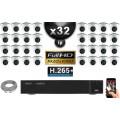 Kit Vidéo Surveillance PRO IP : 32x Caméras Dômes IR 20M SONY 1080P Compatible IPHONE + Enregistreur NVR H264 FULL HD 3000 Go