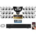 Kit Vidéo Surveillance PRO IP : 24x Caméras Tubes IR 20M SONY 1080P Compatible IPHONE + Enregistreur NVR H264 FULL HD 3000 Go