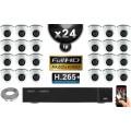 Kit Vidéo Surveillance PRO IP : 24x Caméras Dômes IR 20M SONY 1080P Compatible IPHONE + Enregistreur NVR H264 FULL HD 3000 Go
