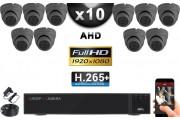 KIT PRO AHD 10 Caméras Dômes IR 20m Capteur SONY FULL HD 1080P + Enregistreur XVR 5MP H265+ 3000 Go / Pack vidéo surveillance
