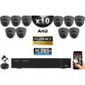 KIT PRO AHD 10 Caméras Dômes IR 20m SONY FULL HD 1080P + Enregistreur DVR AHD FULL HD 3000 Go / Pack de vidéo surveillance