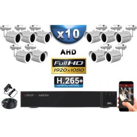 KIT PRO AHD 10 Caméras Tubes IR 30m Capteur SONY FULL HD 1080P + Enregistreur XVR 5MP H265+ 3000 Go / Pack vidéo surveillance