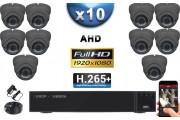 KIT PRO AHD 10 Caméras Dômes IR 35m Capteur SONY FULL HD 1080P + Enregistreur XVR 5MP H264+ 3000 Go / Pack vidéo surveillance