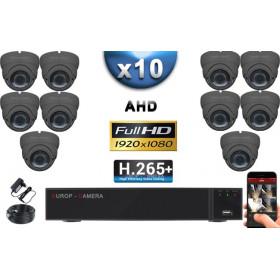 KIT PRO AHD 10 Caméras Dômes IR 35m Capteur SONY FULL HD 1080P + Enregistreur XVR 5MP H265+ 3000 Go / Pack vidéo surveillance