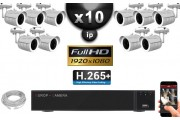Kit Vidéo Surveillance PRO IP : 10x Caméras Tubes IR 20M SONY 1080P Compatible IPHONE + Enregistreur NVR H264 FULL HD 3000 Go