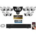 Kit Vidéo Surveillance PRO IP : 10x Caméras Tubes IR 30M Capteur SONY 1080P + Enregistreur NVR 16 canaux H265+ 3000 Go
