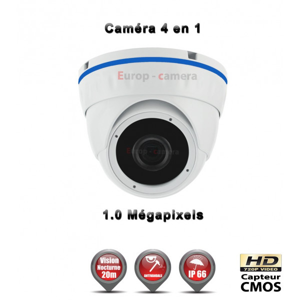Mini Dôme 4 en 1 Anti-vandal : HD 720P 1MP CMOS IR 20m / Ref : EC-AHDD4i1B Blanc - Caméra de Vidéo surveillance