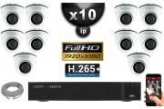 Kit Vidéo Surveillance PRO IP : 10x Caméras Dômes IR 20M SONY 1080P Compatible IPHONE + Enregistreur NVR H264 FULL HD 3000 Go