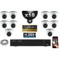 Kit Vidéo Surveillance PRO IP : 10x Caméras Dômes IR 20M Capteur SONY 1080P + Enregistreur NVR 16 canaux H265+ 3000 Go