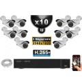 Kit Vidéo Surveillance PRO IP : 10x Caméras POE Tubes IR 40M SONY 5 MEGA-PIXELS + Enregistreur NVR 24 canaux H265 3000 Go