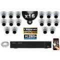Kit Vidéo Surveillance PRO IP : 16x Caméras POE Dômes IR 35M SONY 5 MEGA-PIXELS + Enregistreur NVR 24 canaux H265 3000 Go