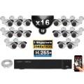 Kit Vidéo Surveillance PRO IP : 16x Caméras POE Tubes IR 40M SONY 5 MEGA-PIXELS + Enregistreur NVR 24 canaux H265 3000 Go