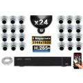 Kit Vidéo Surveillance PRO IP : 24x Caméras POE Dômes IR 35M SONY 5 MEGA-PIXELS + Enregistreur NVR 24 canaux H265 3000 Go