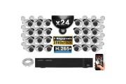 Kit Vidéo Surveillance PRO IP : 24x Caméras POE Tubes IR 40M SONY 5 MEGA-PIXELS + Enregistreur NVR 24 canaux H265 3000 Go