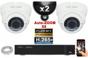 Kit Vidéo Surveillance PRO IP : 2x Caméras POE Dômes AUTOZOOM X5 IR 35M SONY 1080P + Enregistreur NVR 16 canaux H265+ 2000 Go