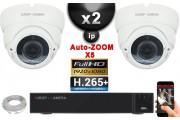 Kit Vidéo Surveillance PRO IP : 2x Caméras POE Dômes AUTOZOOM X5 IR 35M SONY 1080P + Enregistreur NVR 9 canaux H265+ 1000 Go