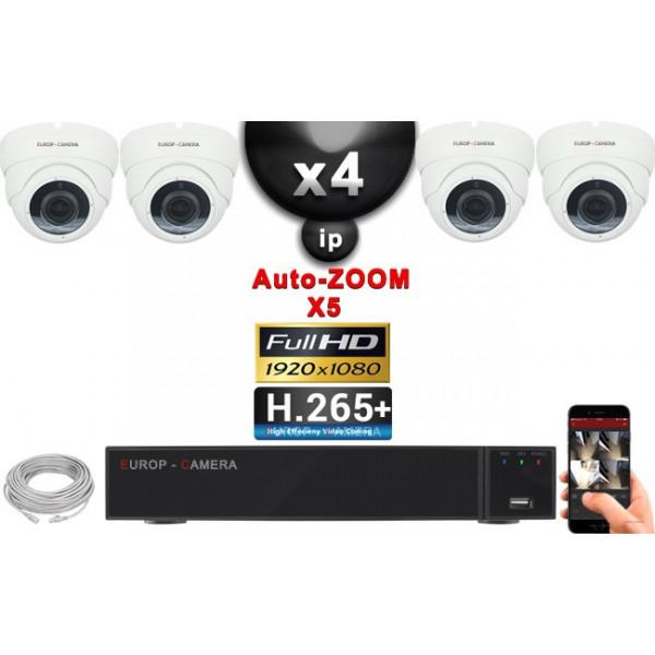 Kit Vidéo Surveillance PRO IP : 4x Caméras POE Dômes AUTOZOOM X5 IR 35M SONY 1080P + Enregistreur NVR 9 canaux H265+ 2000 Go