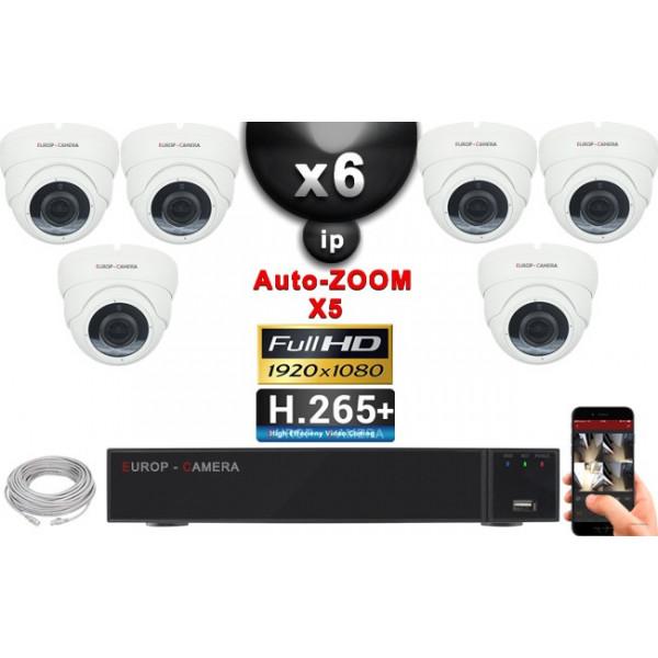 Kit Vidéo Surveillance PRO IP : 6x Caméras POE Dômes AUTOZOOM X5 IR 35M SONY 1080P + Enregistreur NVR 9 canaux H265+ 2000 Go