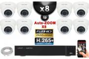 Kit Vidéo Surveillance PRO IP : 8x Caméras POE Dômes AUTOZOOM X5 IR 35M SONY 1080P + Enregistreur NVR 32 canaux H264 3000 Go