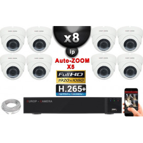Kit Vidéo Surveillance PRO IP : 8x Caméras POE Dômes AUTOZOOM X5 IR 35M SONY 1080P + Enregistreur NVR 16 canaux H265+ 3000 Go