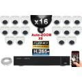 Kit Vidéo Surveillance PRO IP : 16x Caméras POE Dômes AUTOZOOM X5 IR 35M SONY 1080P + Enregistreur NVR 25 canaux H265+ 3000 Go