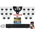 Kit Vidéo Surveillance PRO IP : 16x Caméras Dômes IR 35M SONY 1080P Compatible IPHONE + Enregistreur NVR H264 FULL HD 3000 Go
