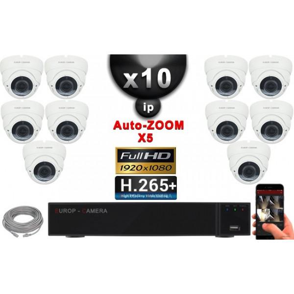 Kit Vidéo Surveillance PRO IP : 10x Caméras POE Dômes AUTOZOOM X5 IR 35M SONY 1080P + Enregistreur NVR 16 canaux H265+ 3000 Go