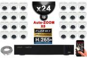 Kit Vidéo Surveillance PRO IP : 24x Caméras POE Dômes AUTOZOOM X5 IR 35M SONY 1080P + Enregistreur NVR 36 canaux H265+ 3000 Go